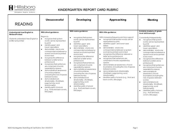 how to develop a report card for kindergarten