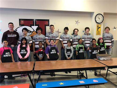HHS Baseball Team with HES Math Monsters